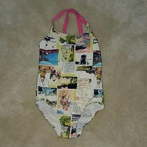 Mini Boden Girl's Postcard Swimsuit 5-6